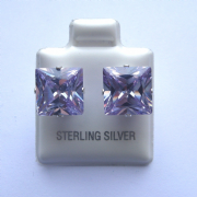 9mm square Princess cut Lavender Cubic Zirconia Sterling silver Stud earrings